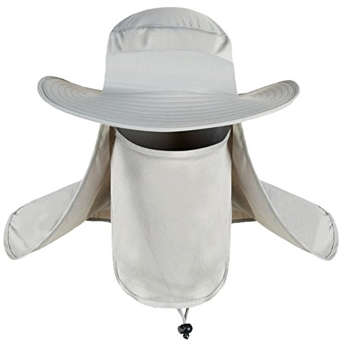 Outdoor Herren Vollständig Sonnenschutz Fischerhüte Hüte Einstellbar Nackenschutz Mütze Jungle Hat Sommer Maske Strand Trekking Hut Anti-UV UPF 50 (Geist Kostüm Cod)
