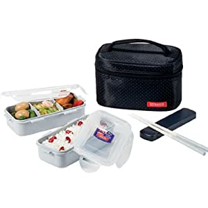 Lock & Lock Rectangular Lunch Box Bento Set-HPL752DB, Black