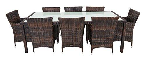 Acht-personen-esstisch (OUTFLEXX Esstischgruppe in außergewöhnlichem Design aus braun marmoriertem Polyrattan für 8 Personen inkl. Sitzpolster, großer Tisch mit innenliegender Glasplatte, 220 x 100 x 74 cm, wetterfest)