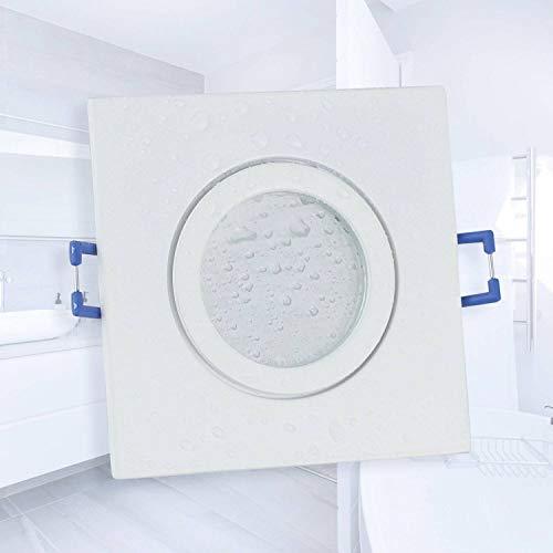 LED Einbaustrahler weiß - eckig flach 5 Watt warmweiß 230V IP44 - geeignet für Bad, Küche, Sauna, Außenbereich - Ø60-70mm Bohrloch - elegantes Design, hochwertige Verarbeitung,
