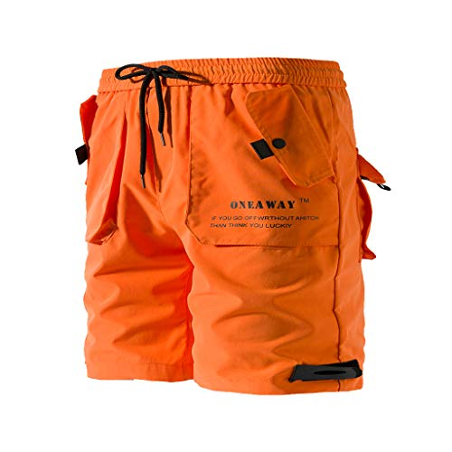 Cargo Shorts Herren Chino Kurze Hose Sommer Bermuda Sport Qmber Jogging Training Stretch Shorts Fitness Vintage Regular Sweatpants Baumwolle lockere einfarbige Knopfleiste Orange Schwarz(Orange,2XL)