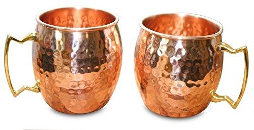 Moscow Mule cobre tazas–Set de 2Premium sin níquel en el interior, de cobre macizo martillado 100% cobre puro mejora sabores, hechos a mano de alta calidad–Cada taza es de Oz capacidad