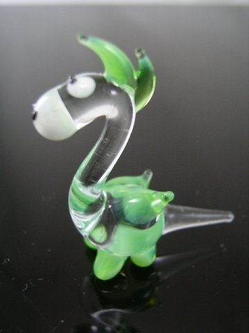 Drache Klar Grün Miniatur - Figur aus Glas - Glasfigur grüner Drachen Mini k5 - Glastier Deko Setzkasten