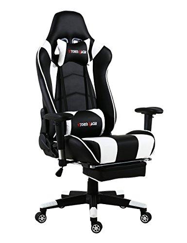 Storm Racer ergonómico Gaming Chair Silla de Respaldo Alto Silla de Oficina con reposapiés Ajuste reposacabezas y Apoyo Lumbar Silla de Racing (Blanco-s)