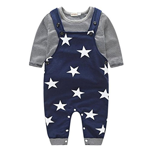 JYJMBaby Boys Pants Sets Stripe T-shirt Top Bib Pants Overall Outfits (Größe:80, Marine) (Langarm Bib T-shirt)