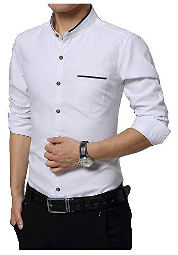 IndoPrimo Men's Cotton Chinese Collar Full Sleeves Casual Shirt (White, Large - 42)