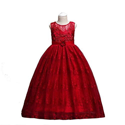 Peggy Gu Kinder Weihnachten Hochzeit Blumenmädchen Kleid Chiffon Bestickt Hochzeit Party Kleid für Girs Kostüm Cosplay Prinzessin Schickes Partykleid (Farbe : Rot, Größe : - Gir Cosplay Kostüm