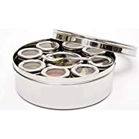 WhopperIndia Stainless Steel Spice box 9 compartments With Clear Screen & Clear Lid With Spoon Airtight