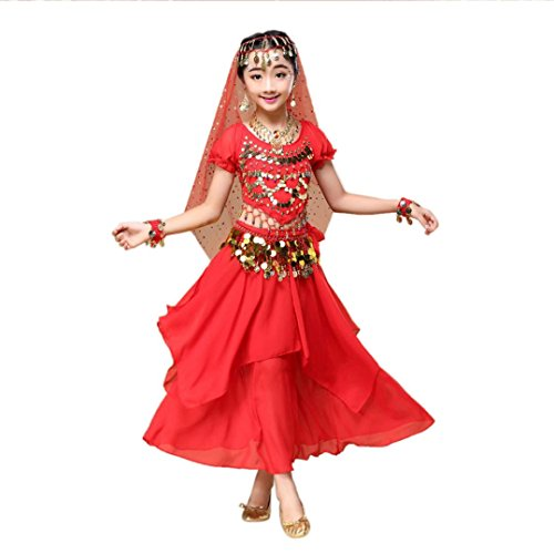 Hunpta Kinder Mädchen Bauchtanz Outfit Kostüm Indien Dance Kleidung Top + Rock (90~115cm, Rot) (Mädchen Tier Kostüm Kleid)