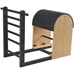 ELINA PILATES. Ladder Barrel_Base Acero – Máquina clásica de Pilates para Diferentes Ejercicios. Longitud Ajustable 100-120cm. Base de Acero Negro.