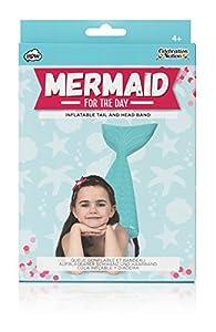 NPW Diadema y cola de sirena hinchable para niños, «Sirena por un día», color azul