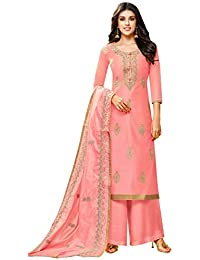 Simaaya Indian Ethnic Chanderi Silk Pink Coloured Palazzo Suit Semi-Stitched