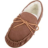 Ladies Camel/Light Brown Suede Moccasin Slippers with Hard Man Made Sole. Sizes 3 to 9