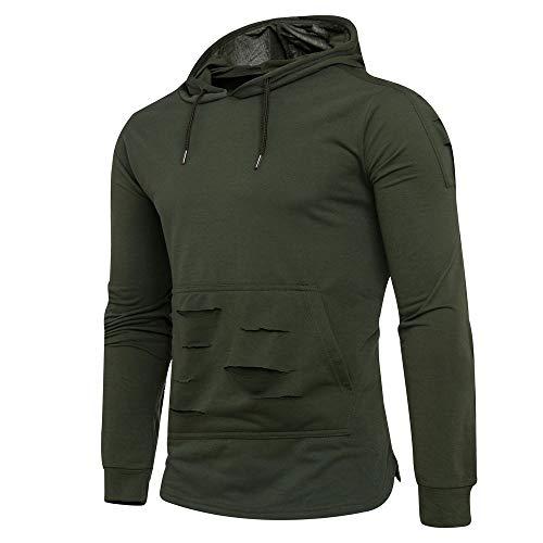 JiaMeng Herren Winter Volltonfarbe Loch Hoodie Hooded Pullover Sweatshirt Pullover Mantel Jacke Outwear, Weihnachten Kostüme