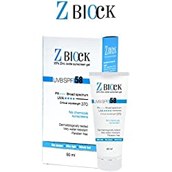 Z-Block 25% Zinc Oxide Sunscreen Gel, SPF 58, 50 ml