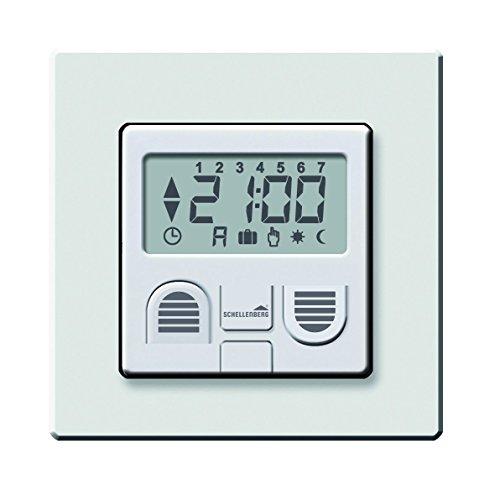 Schellenberg 25572 Zeitschaltuhr Plus zur Rolladensteuerung, weiß, mit Display / Wandtatser für Unterputz-Montage / Programmierbare Automatik mit u.a. Astrofunktion, Zufallsfunktion und Tagesprogramm