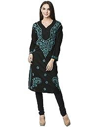[Sponsored]La Vastraa Women Lucknowi Blue Embroidered Black Cotton Kurti