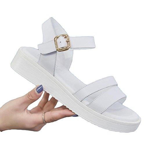 Sandali sciolti sandali femminili fondo spessore pendii con cuoio scarpe da scuotere comodo piede aperto sandali casual White