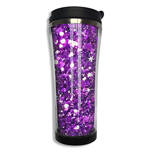 Stainless Steel 420 ML Glitter Sparkles Shimmer Printing Coffee Mug Double Wall Vacuum Insulated Tumbler Water Coffee Cup Travel Home Office School Works Great Hot Cold Drink