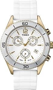 Timex T2N827D7 - Reloj analógico de cuarzo para mujer con correa de silicona, color blanco de Timex