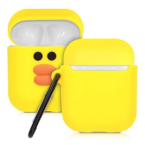 kwmobile Hülle für Apple AirPods Kopfhörer - Silikon Schutzhülle Etui Case Cover Schoner Entchen Design Orange Schwarz Gelb
