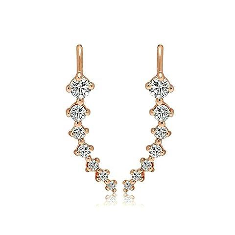 Bishilin Gold Plated Womens Stud Earring 4 Prong White CZ Princess Earrings