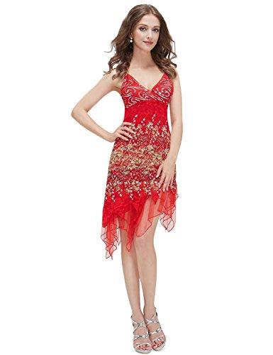 Ever Pretty Robe de soir¨¦e sans manche en V-col 00045 Rouge