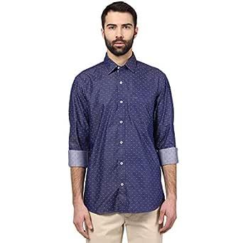 Colorplus Men Solid Blue Coloured Cotton Shirts