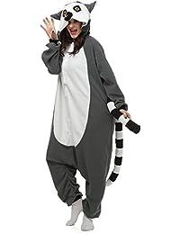 DELEY Unisexe Adulte Grenouillère Anime Cosplay Costume dessins d'Animaux Kigurumi Pyjama à Capuche Vêtements de nuit Lémurien