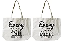 Womens BFF Short and Tall Best Friend Matching Natural Canvas Tote Bag
