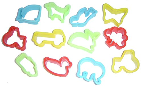 Play Dough (Play Doh) / Biscuit Cutters Pack of 12 - Assorted Shapes - Cutter Pack