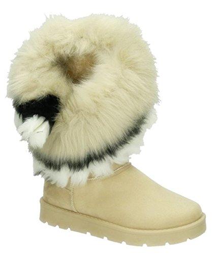King Of Shoes Warm Gefütterte Bequeme Damen Stiefeletten Stiefel Boots Flache Schlupfstiefel Winter Langschaft 896 (36, Beige)