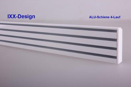 ALU Schiene 4-Lauf , weiß, Gardinenschiene für Flächenvorhänge. Bis 500 cm Länge an einem Stück lieferbar. Die Preiseingabe bezieht sich auf 10 cm Schiene. Maximale Länge an einem Stück = Menge 50 = 500cm