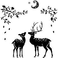 Emorias 1 Pcs Etiqueta de la Pared de Navidad Alce de Navidad Silueta Vidrio Ventana Habitación para Niños Etiqueta Decorativa de Fiesta Carnaval Decoración