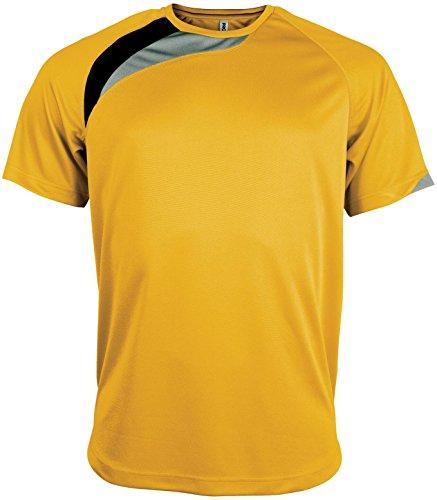 Kariban Proact Short Sleeve Sport-T-Shirt - 7 Fa - Yellow/ Black/ Storm Grey - S