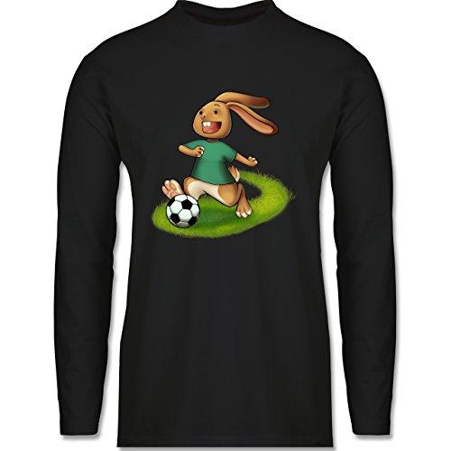 Shirtracer Fußball - Fußball Hase - Herren Langarmshirt Schwarz