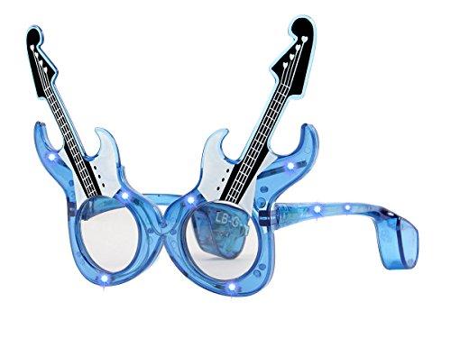Alsino Blinkende LED Partybrille E-Gitarre Brille Blinki Leuchtbrille, wählen:LB-G blau