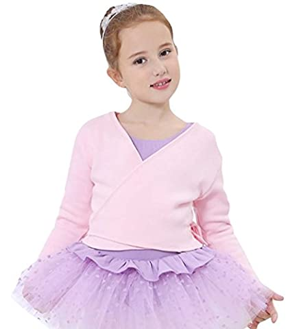 YouPue Ballettjacke Wickeljacke Mädchen Lange Ärmel Strickjacke Ballett Training Knit Jacke Wärmende Cardigan Für Kinder Rosa