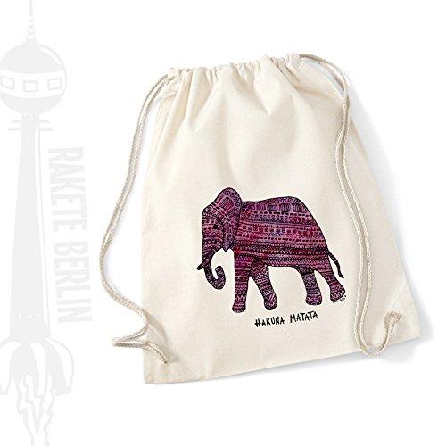 Turnbeutel Baumwolle \'Elefant - Hakuna Matata\' gezeichnet