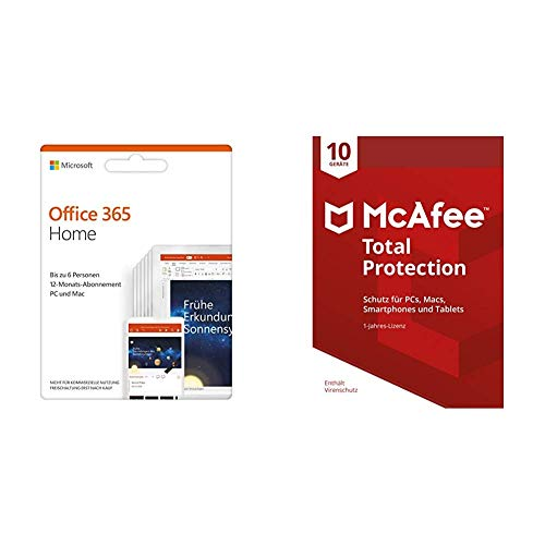 Microsoft Office 365 Home multilingual + McAfee Total Protection 2018 10 Geräte