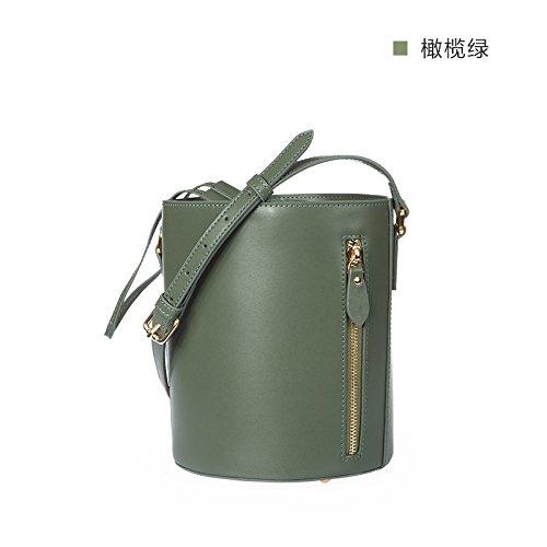 D'origine simple cordon cylindrique en bandoulière Sac en cuir sac seau Olive green