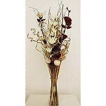 Ramo de flores secas y artificiales, 85cm de alto, listo para colocar en florero