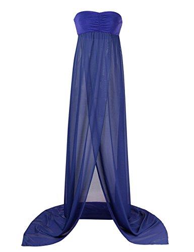 KOJOOIN Damen Elagant Umstandskleid Off Schulter Chiffon Schwanger Fotografie Rock, Festlich Lange Schwangerschafts Kleider Blau - 2