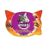 Whiskas Knuspertaschen für ausgewachsene Katzen - kalorienarme Knusper-Snacks für Katzen in der Geschmacksrichtung Rind / 8 Schalen (8 x 60 g)