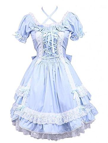 Cemavin Ins Klassische Kurze ärmel Baumwolle Lolita Kleid Mit Pfeil Spitzen Blau