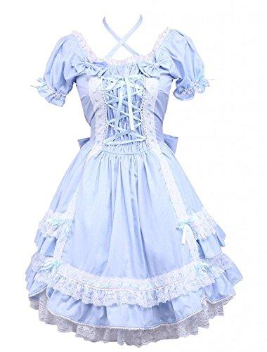 Cemavin Ins Klassische Kurze ärmel Baumwolle Lolita Kleid Mit Pfeil Spitzen (Kostüme Go Kleid Go)