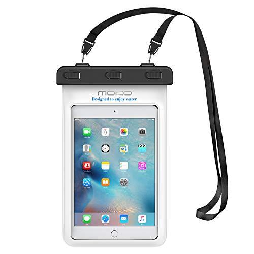 MoKo Wasserdichte Hülle Tasche Schutzhülle Beachbag mit Halsband und Hand Strap für iPad Mini 2 3 4, Samsung Galaxy Tab S2 8.0, ASUS ZenPad S 8.0, Tab 2 A7-10/30, Tablet (bis zu 8.4 Zoll) - IPX8, Weiß