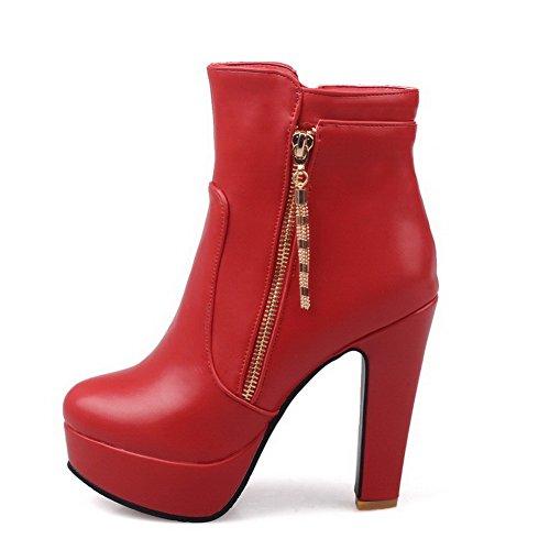 AgooLar Damen Rein Hoher Absatz Reißverschluss Niedrig-Spitze Stiefel, Rot, 36