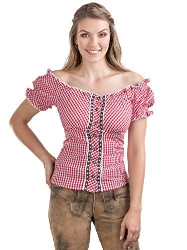 Schöneberger Trachten Couture Trachtenbluse Alpenstern - Elegante, schulterfreie Carmenbluse mit hinterer Schnürrung & tailliert (40, Rot/Weiss)