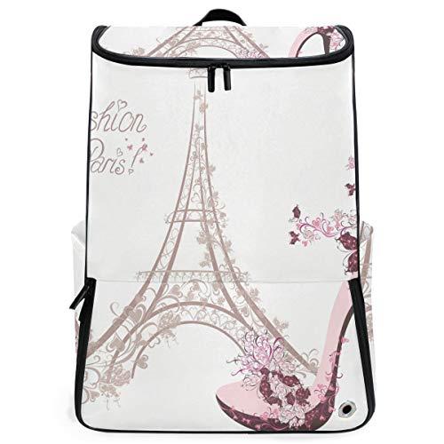 FANTAZIO Laptop-Rucksack für unterwegs, Frankreich-Symbole, langlebig, für Schule und Schule, für Outdoor, Camping, passend für bis zu Notebook -